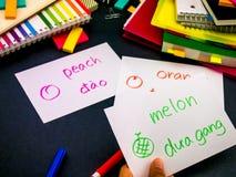 Apprendimento della lingua nuova che fa i flash card originali; Vietnamita Fotografia Stock