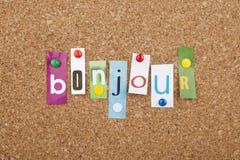 Apprendimento delle lingue francesi Bonjour ciao fotografia stock