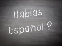 Apprendimento dello Spagnolo di concetto di lingua immagini stock libere da diritti