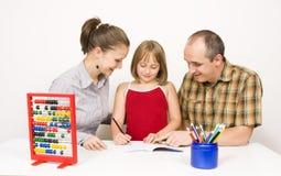 apprendimento felice della famiglia Immagine Stock Libera da Diritti