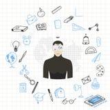 Apprendimento online di concetto con i vetri di realtà virtuale con l'insieme degli elementi del disegno per istruzione con gli a Immagini Stock