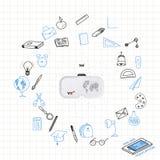 Apprendimento online di concetto con i vetri di realtà virtuale con l'insieme degli elementi del disegno per istruzione con gli a Immagine Stock