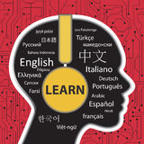 Apprendimento parlare concetto differente di lingue Fotografia Stock Libera da Diritti