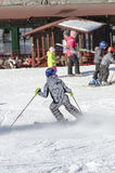 Apprendimento sciare Fotografie Stock