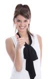 Apprendista felice isolato con il pollice su su bianco. Immagine Stock