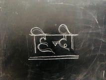 Apprenez Hindi Handwritten Letter sur le tableau noir Image libre de droits