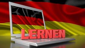 Apprenez l'allemand avec l'ordinateur Photographie stock