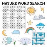 Apprenez l'anglais avec un jeu de recherche de mot de nature pour des enfants Vecteur IL Photographie stock libre de droits