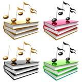 Apprenez la musique et la chanson par symbole de graphisme de livres Images libres de droits