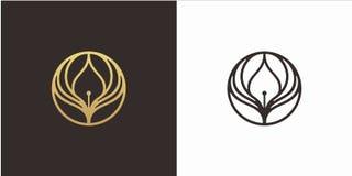 Apprenez le concept de construction de logo d'éducation, logo d'ailes, avec le calibre de luxe de logo de style illustration de vecteur