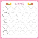 Apprenez les formes et les chiffres géométriques École maternelle ou fiche de travail de jardin d'enfants pour des habiletés motr Photographie stock