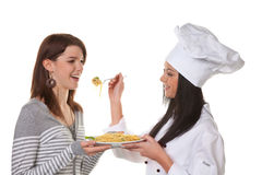 Apprentice chef tasted Stock Photos