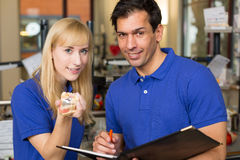 Apprentice and dental technician Royalty Free Stock Images