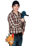 Apprentice with a grinder. Royalty Free Stock Photos