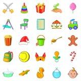 Apprentice icons set, cartoon style. Apprentice icons set. Cartoon set of 25 apprentice vector icons for web isolated on white background Stock Photos