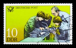 Apprenticeship telex and telephony, Educational Institutions At Deutsche Post serie, circa 1981. MOSCOW, RUSSIA - NOVEMBER 23, 2017: A stamp printed in Germany Royalty Free Stock Image