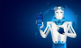 Apprentissage automatique ou intelligence artificielle (AI), analyse de robot illustration stock