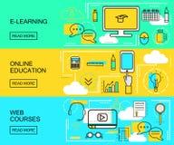Apprentissage en ligne, éducation en ligne et bannières horizontales de cours de Web Formations de distance Icônes d'étude avec l illustration libre de droits
