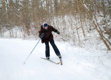 Apprentissage pour skier photographie stock libre de droits