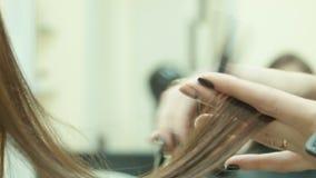 Apprettatrice e taglio di capelli dei capelli video d archivio