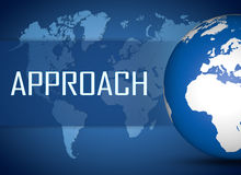 Approach. Concept with globe on blue world map background Stock Photos