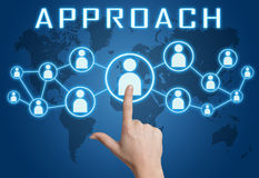 Approach. Concept with hand pressing social icons on blue world map background Stock Image