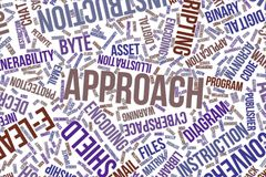 Approach, conceptual word cloud for business, information technology or IT. Approach, IT, information technology conceptual word cloud for for design wallpaper Stock Photography