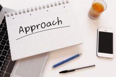 Approach. Handwritten text in a notebook on a desk - 3d render illustration Stock Image