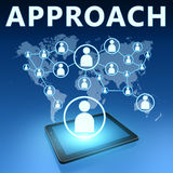 Approach. Illustration with tablet computer on blue background Royalty Free Stock Images