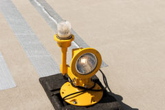 Approach lights of an airfield airport runway Stock Images