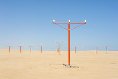 Approach lights at an airport runway Royalty Free Stock Images