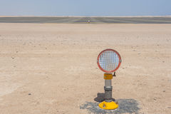 Approach lights at an airport runway Royalty Free Stock Photography