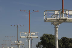 Approach lights at Los Angeles. The approach lights at Los Angeles, LAX airport royalty free stock photos