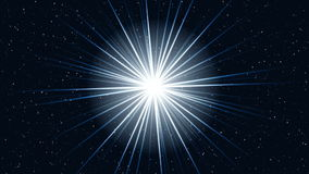 Approach motion of a cosmos star with bright rays stock video