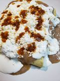 Approach to a plate of enfrijoladas, traditional mexican food, tortillas bathed in bean sauce with cream, cheese and hot sauce. Approach plate enfrijoladas stock photography