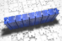 Approach. Puzzle 3d render illustration with block letters on blue jigsaw pieces Royalty Free Stock Photo