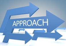 Approach. Render concept with blue arrows on a bluegrey background Stock Images