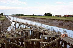 Approach on River Nene at low tide to Crosskeys Bridge at Sutton Stock Photography