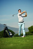 Approach shot golf man Stock Photos