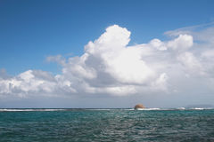 Approach of storm front in sea. Anse Gourde, Guadeloupe Royalty Free Stock Photo