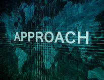 Approach. Text concept on green digital world map background Royalty Free Stock Photos