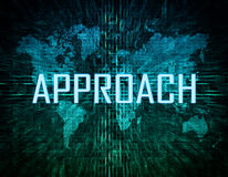 Approach. Text concept on green digital world map background Royalty Free Stock Images