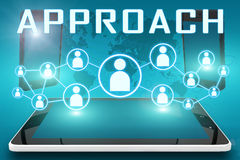 Approach. Text illustration with social icons and tablet computer and mobile cellphones on cyan digital world map background Royalty Free Stock Images