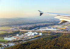 Approach to Frankfurt International Airport with view to the oil station Royalty Free Stock Image