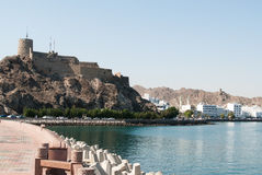 Approach to Muscat beneath the old castle Stock Photo