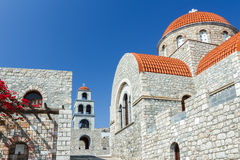Approach to Orthodox temple of Agios Savvas on Royalty Free Stock Photo
