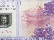 Approach to reverse side of chilean banknote of 2000 pesos, background and texture. Backdrop for announcements of trading and exchange, bank and commerce, price royalty free stock photography