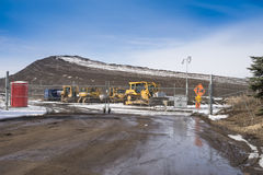 Approach to the snow storage site Stock Photos
