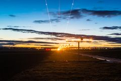 Approaching the airport at dusk Stock Images