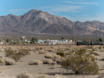Approaching Amboy, California Stock Photo